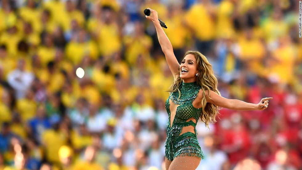 "Singer Jennifer Lopez performs during the <a href=""http://www.cnn.com/2014/06/12/football/gallery/world-cup-0612/index.html"">opening ceremony of the World Cup</a>, which was held in Sao Paulo, Brazil, prior to the Brazil-Croatia match on Thursday, June 12."