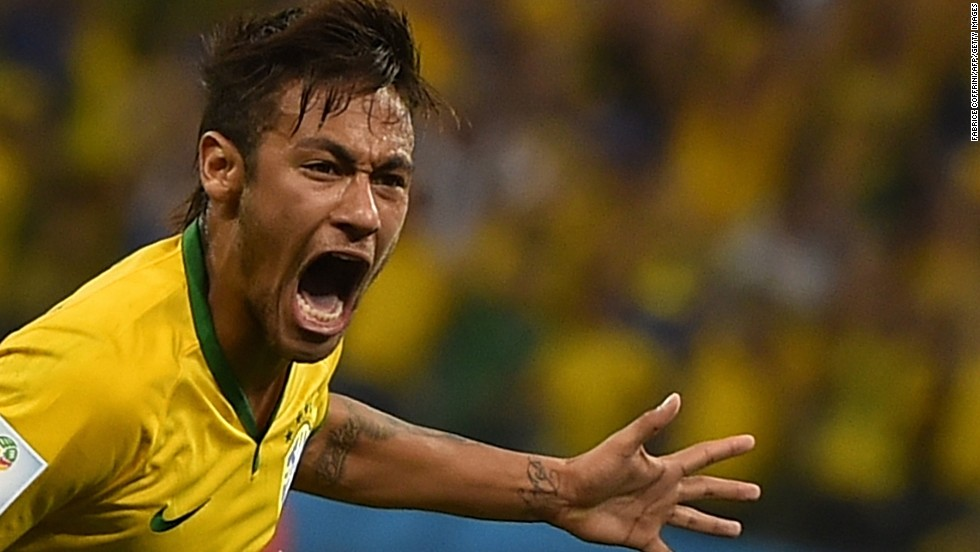 Neymar celebrates. He had two goals in the game, which was played in Sao Paulo, Brazil.