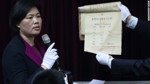 Documents concerning the 1937 Nanjing Massacre at the archives office in Nanjing.