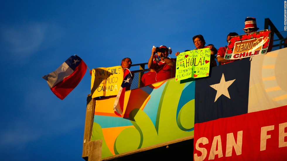 Chile fans hold up banners before the start of the match.