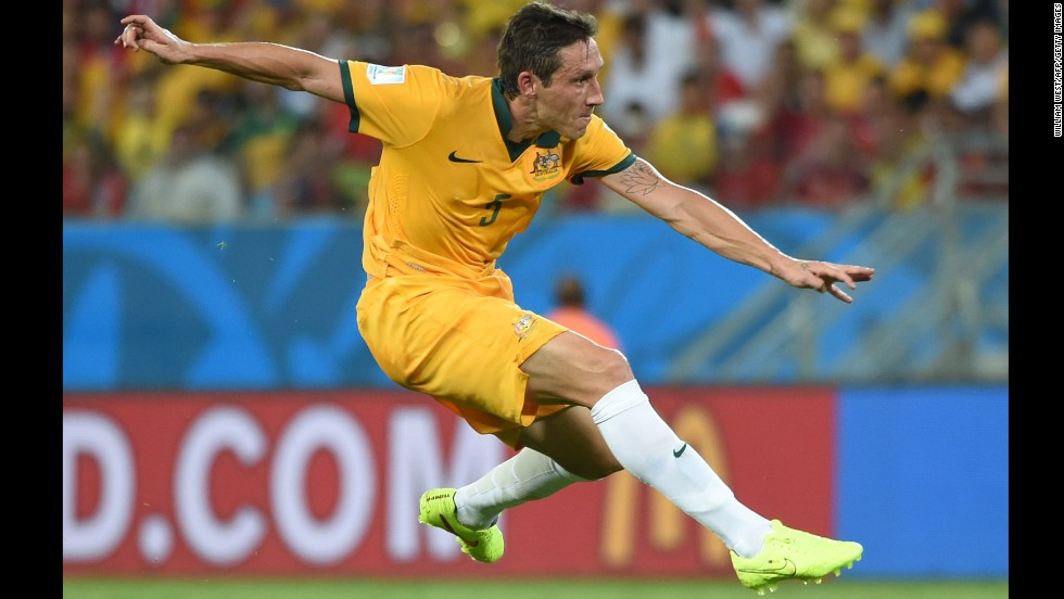 Australia midfielder Mark Milligan is pictured during the game.