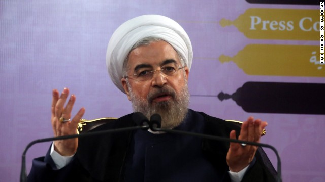 Iranian President Hassan Rouhani speaks during a press conference in the capital Tehran on June 14, 2014.