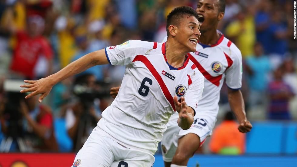 Oscar Duarte celebrates after scoring Costa Rica's second goal against Uruguay.