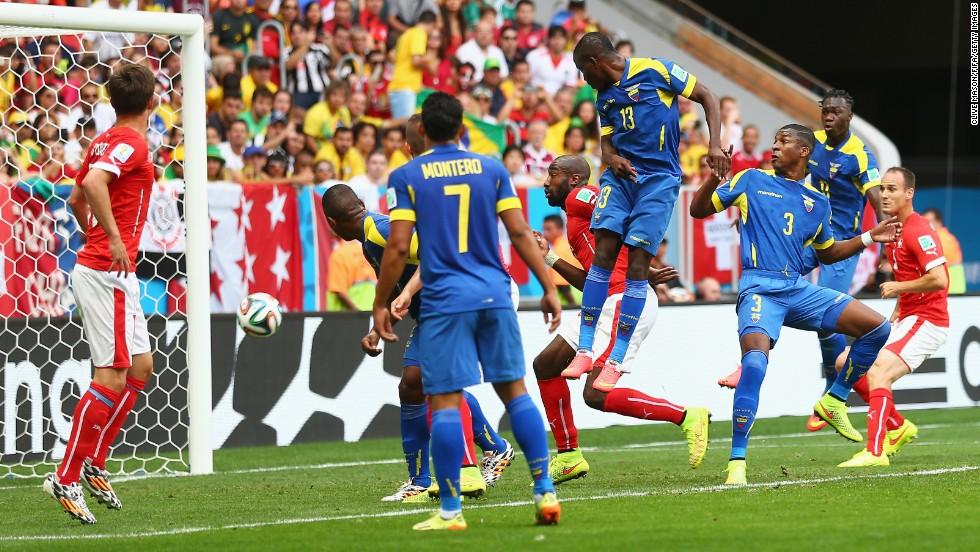Enner Valencia's header puts Ecuador in front against Switzerland.