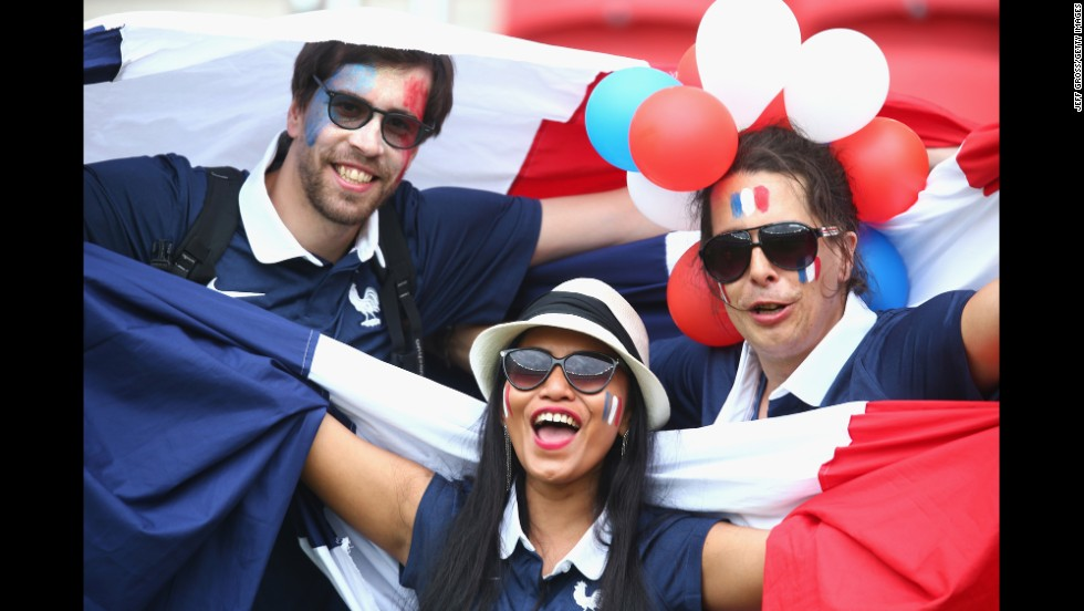 France fans enjoy the the atmosphere prior to kickoff.