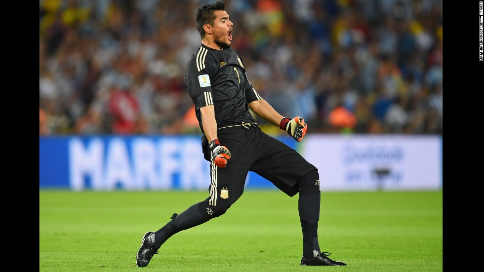 Argentina goalkeeper Sergio Romero celebrates his team's third-minute goal.