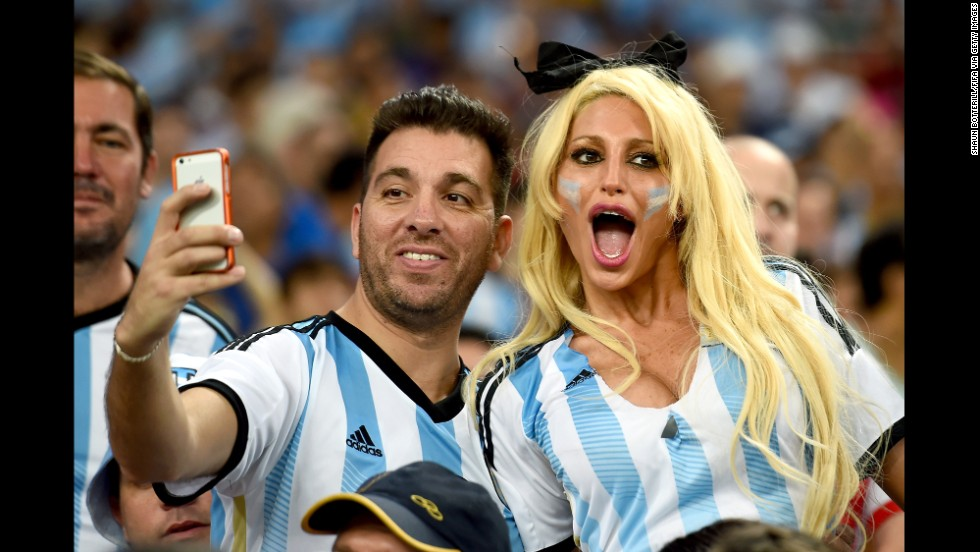 Argentina fans take a selfie ahead of the game.
