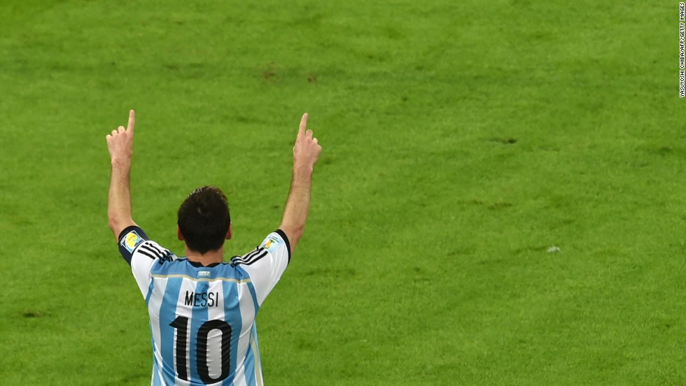 Argentina's captain, Lionel Messi, celebrates scoring his team's second goal against Bosnia-Herzegovina.