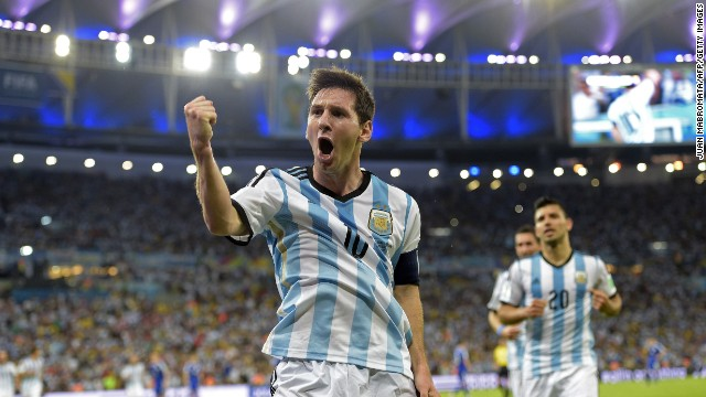 Argentina's Lionel Messi reacts after scoring the winner in Argentina's Group F match against Bosnia Herzegovina