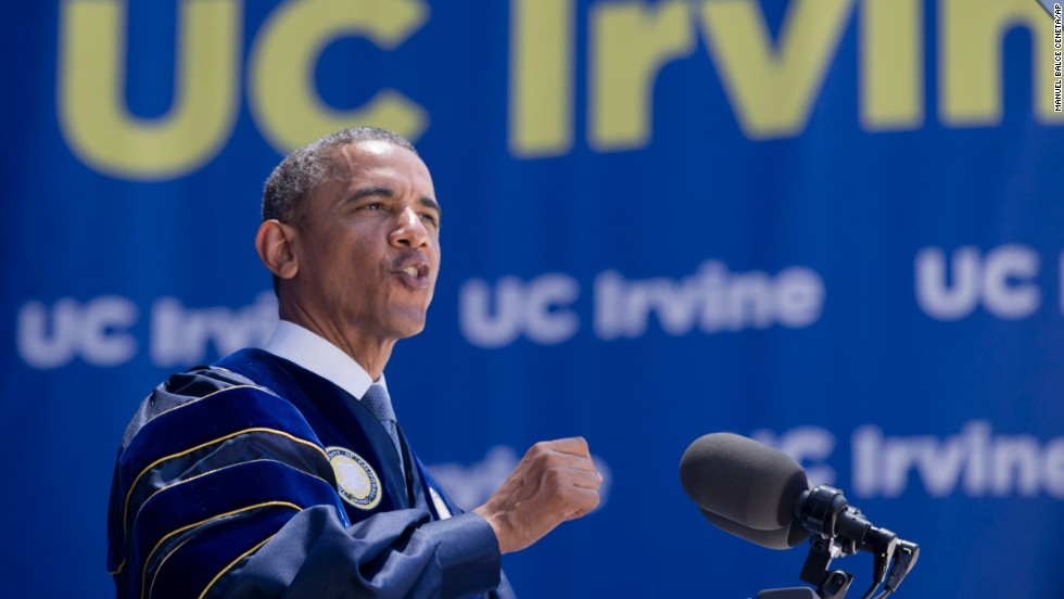 "The president of the United States delivered the commencement address at University of California-Irvine on June 14. During the speech, <a href=""http://politicalticker.blogs.cnn.com/2014/06/14/climate-change-deniers-serious-threat-to-future-obama-says/"">he called lawmakers and pundits who deny manmade climate</a> change a ""fairly serious threat to everybody's future."""