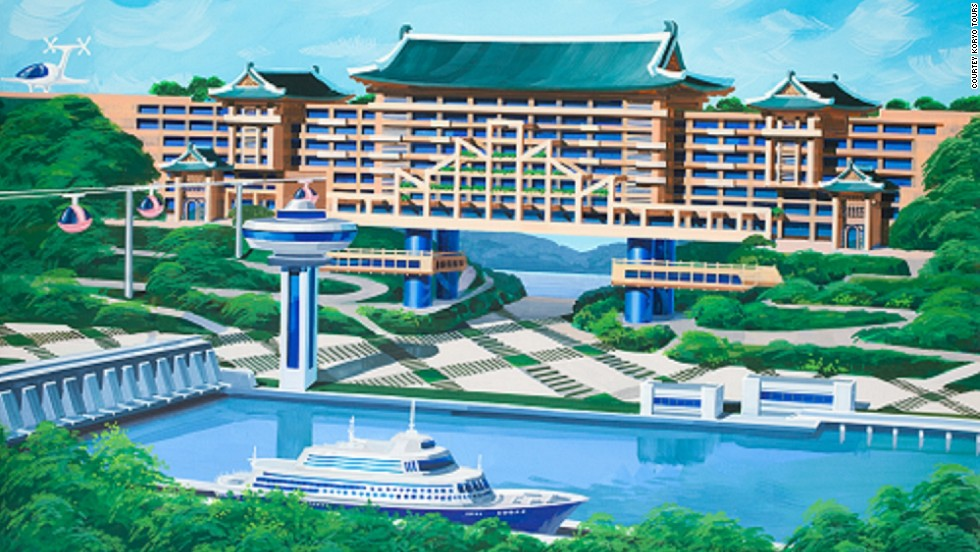 Some designs appear more rooted in reality than others, which take big leaps into what the architects believe may be possible in the future. <br /><br />This image above shows a hotel and gondola on the West Sea Barrage in the port city of Nampo, an area currently without major accommodation facilities.