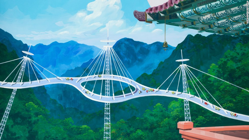 Combining the old and the new, meanwhile, this nifty-looking bridge is designed to connect the famous mountains of Myohyangsan.