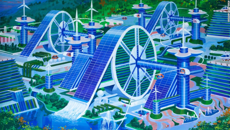 A futuristic silk cooperative that aims to bring together workers of the countryside has plenty of space for wind turbines and helicopter landing pads. <br />The style depicts a traditional Korean hand wheel which is used for weaving.