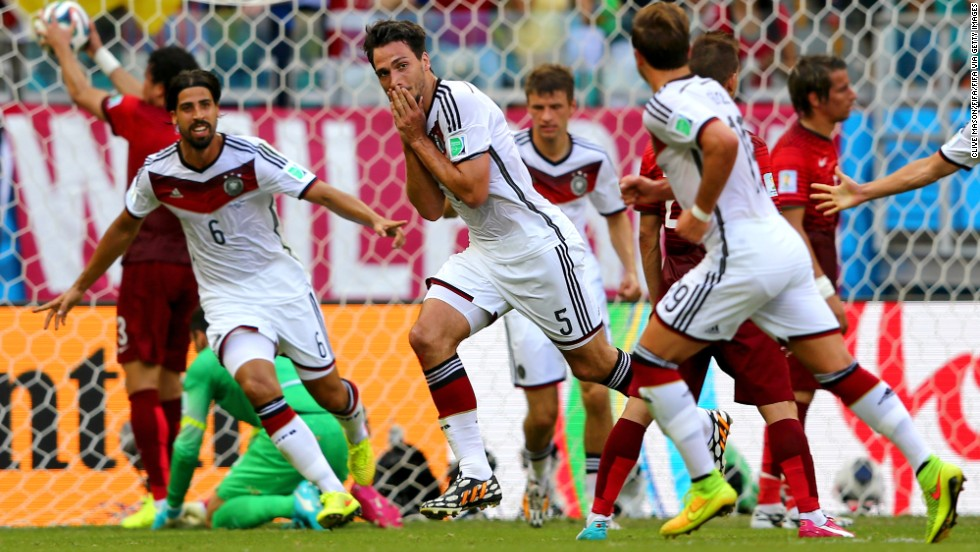 Mats Hummels (No. 5) celebrates after scoring Germany's second goal from a corner kick.