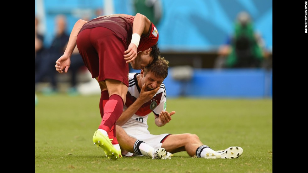Portuguese defender Pepe headbutts Thomas Mueller of Germany during a World Cup match in Salvador, Brazil, on Monday, June 16. The move resulted in a red card, and Portugal lost 4-0.