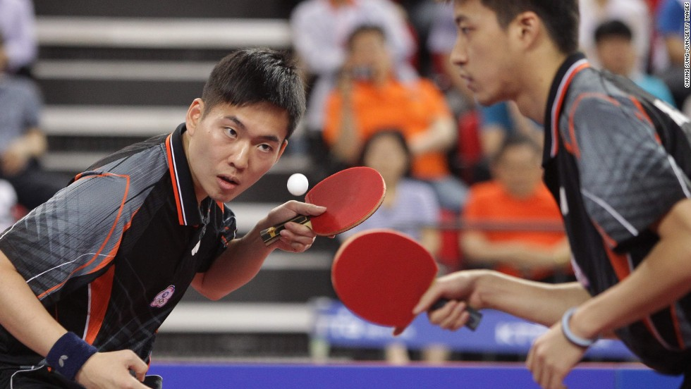 Table tennis players Sheng-Sheng Huang and Hung-Chieh Chiang play in the ITTF World Tour Korea Open on Sunday, June 15, in Incheon, South Korea.