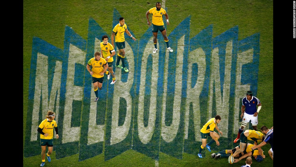 Australia's national rugby team sets up to move the ball forward Saturday, June 14, in Melbourne during the second of its three-match series against France. Australia won the match 6-0, following up on its 50-23 win in the first match.