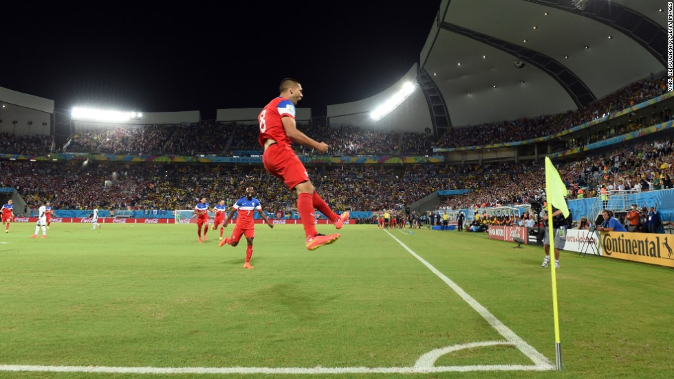 Dempsey celebrates after scoring against Ghana. His goal came in the first minute of the match.