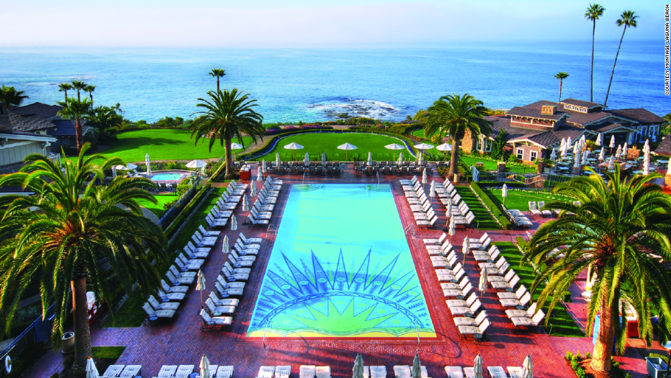 Luxury resort Montage Laguna Beach sits on a coastal bluff with sweeping ocean views.