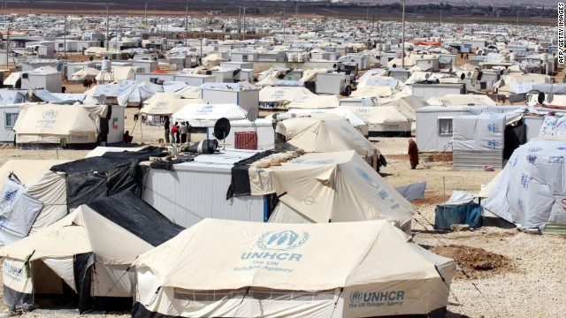 A picture taken March 15, 2014 shows part of the 2.8-square-mile Zaatari refugee camp in northern Jordan near the border with Syria which provides shelter to around 100,000 Syrian refugees.