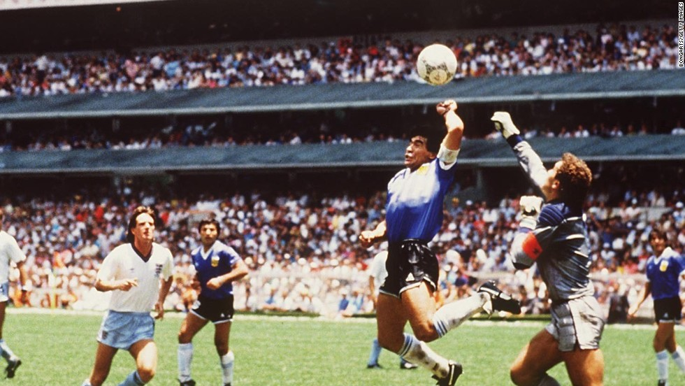 "In the 1986 World Cup quarterfinal between Argentina and England, mercurial Argentine star Diego Maradona opened the scoring with his legendary ""Hand of God"" goal. He then scored a second -- widely viewed as one of the greatest ever World Cup goals -- guiding Argentina to a 2-1 win."