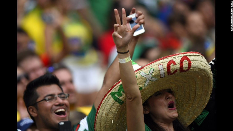 Mexico fans cheer in Fortaleza.