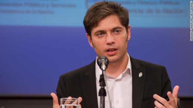 Argentine Minister of Economy Axel Kicillof speaks in Buenos Aires on February 25, 2014, during the announcement of the Argentine government's decison to compensate Spanish oil firm Repsol for the nationalisation of their 51-percent stake in YPF in April 2012. Spanish oil giant Repsol said on Tuesday it had agreed to accept $5 billion in compensation from Argentina for the country's seizure of its subsidiary YPF. AFP PHOTO/NA/Mariano Sanda ---ARGENTINA OUT --- (Photo credit should read Mariano Sanda/AFP/Getty Images)