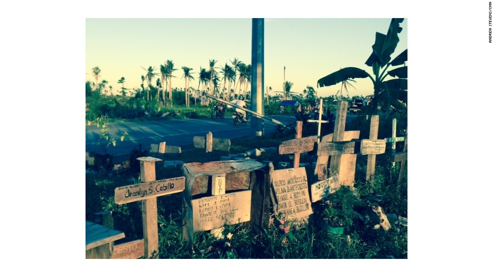 Tragic reminders of the deaths from the typhoon along road sides in the city are common place.