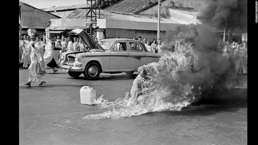 In June 1963, photographer Malcolm Browne showed the world a shocking display of protest. A Buddhist monk named Thich Quang Duc burned himself to death on a street in Saigon to protest alleged persecution of Buddhists by the South Vietnamese government. The image won Browne the World Press Photo of the Year.