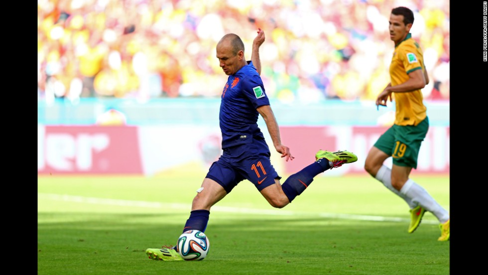 Arjen Robben of the Netherlands opens the scoring. It was his third goal of the tournament.