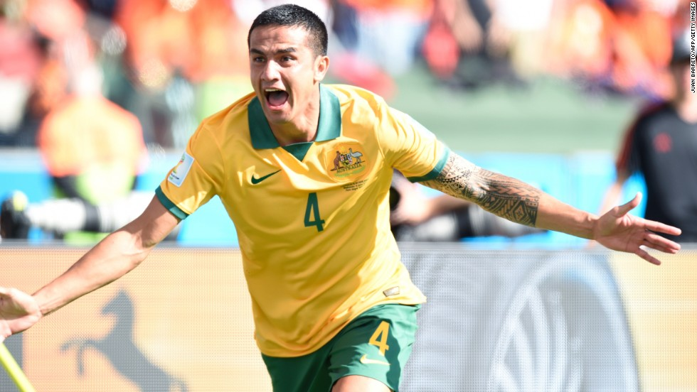 Australian forward Tim Cahill celebrates after scoring a goal against the Netherlands. His impressive volley tied the match at 1-1.