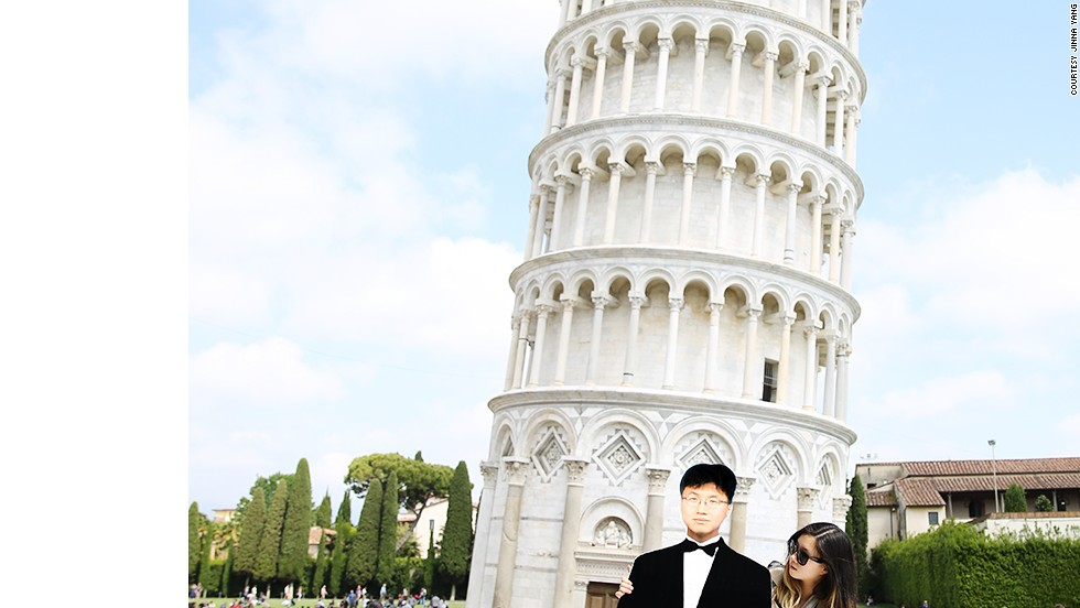 Yang says her father was a PGA-certified pro golfer, but couldn't go on tour because he had to raise her and her brother. The Leaning Tower of Pisa made a backdrop for one the duo's memorable photos.