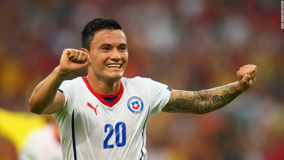 Aranguiz celebrates scoring the second goal.
