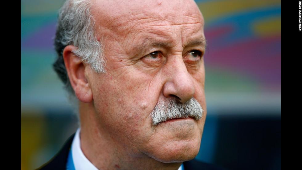 Spain head coach Vicente del Bosque watches the action.