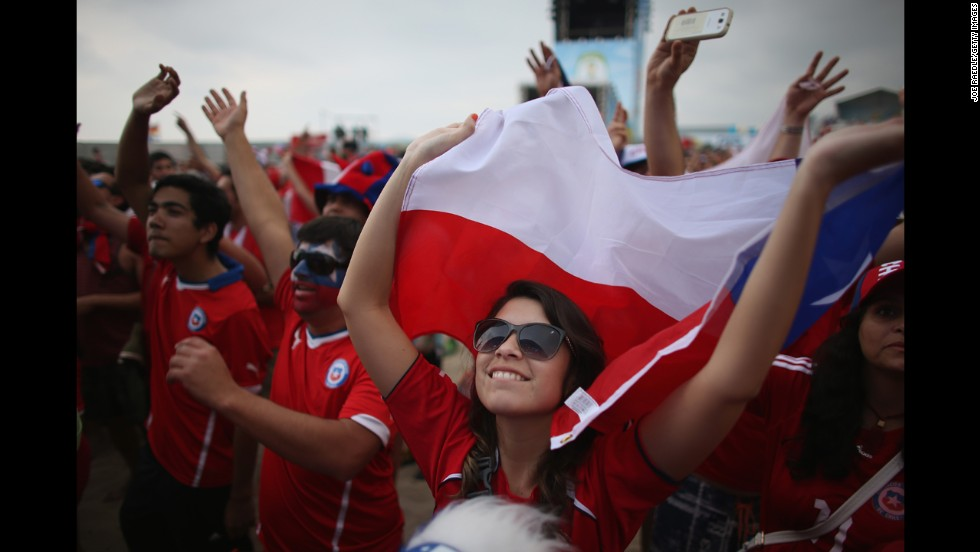 Chile fans watch the match from a FIFA Fan Fest in Rio de Janeiro.