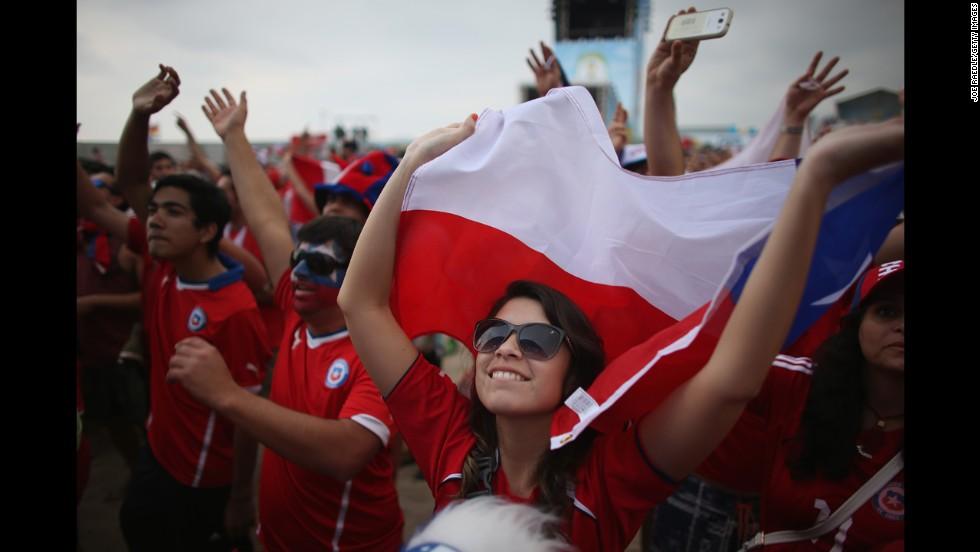 Chile fans watch the match from a FIFA Fan Fest in Rio de Janeiro.