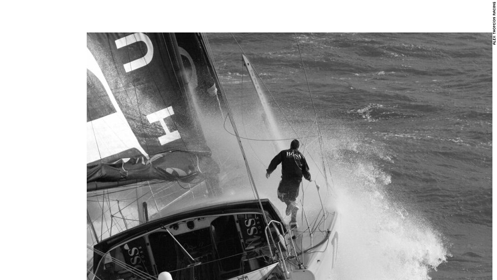 Thomson trials his Hugo Boss yacht as he prepares for the 2016 Vendee Globe.