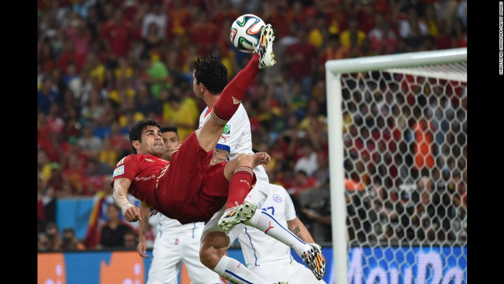 Spanish forward Diego Costa performs an overhead kick.