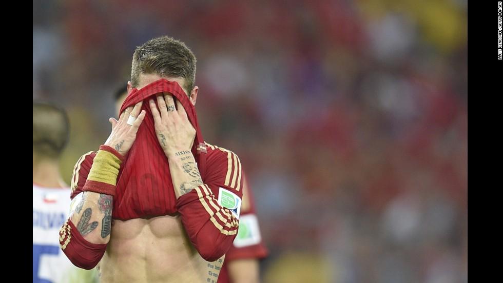 Spain defender Sergio Ramos reacts on the field at the Maracana Stadium in Rio de Janeiro.