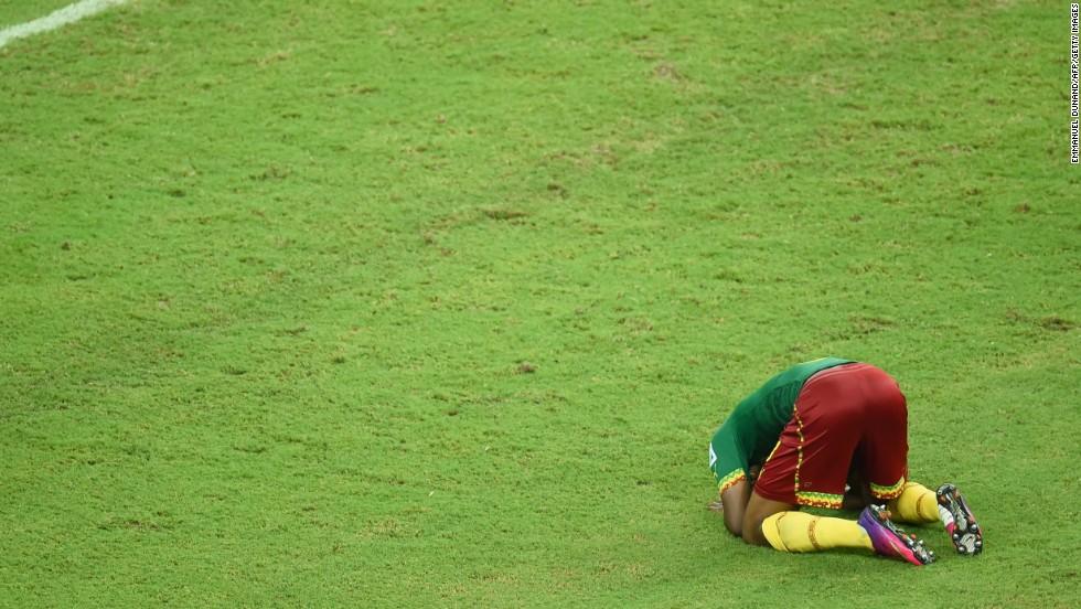 Cameroon's Benjamin Moukandjo reacts during the game.
