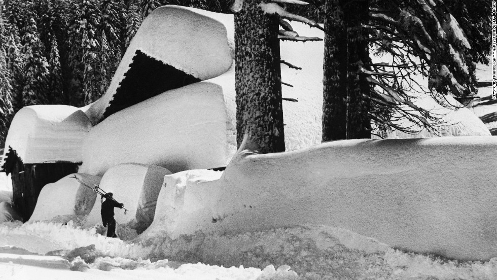 "While the valley doesn't usually have enough snow for skiing during the winter, there's proof it has happened: A skier heads in from the Yosemite Valley on December 13, 1945. <a href=""http://www.nps.gov/yose/planyourvisit/wintersports.htm"" target=""_blank"">The valley </a>does have a winter ice rink dating back to the 1930s, and the Badger Pass ski area is home to the state's oldest downhill skiing area."