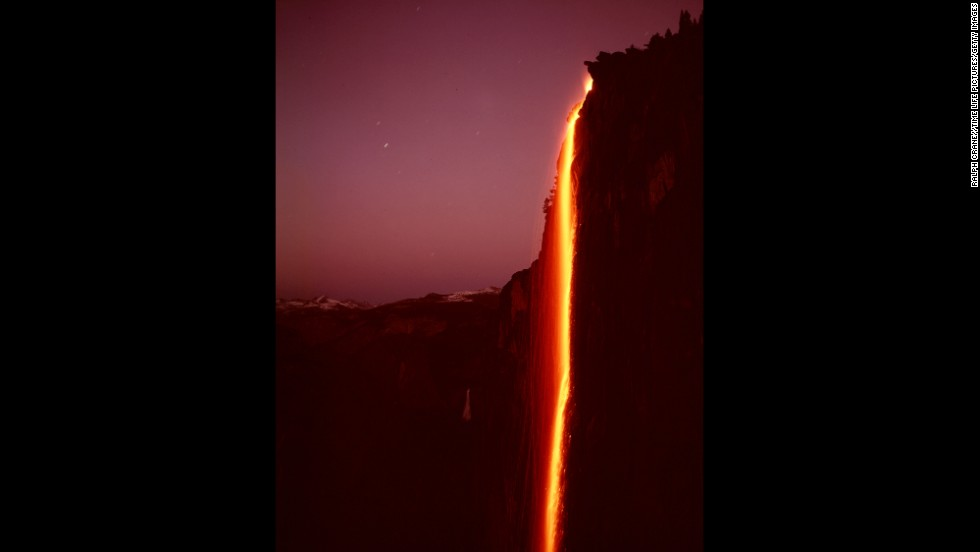 "Hot embers are dumped over the edge of Glacier Point, creating what was called the <a href=""http://www.nps.gov/fire/structural-fire/connect/stories/glacier-point-hotel.cfm"" target=""_blank"">Yosemite Firefall</a>. The nightly summertime spectacle started in the 1870s and was permanently canceled in 1969."