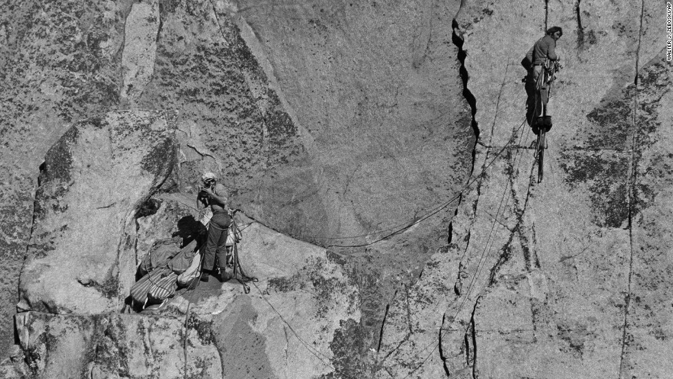 Rock climbers Dean Caldwell, left, and Warren Harding climb El Capitan, which rises more than 3,000 feet above the Yosemite Valley floor, on November 14, 1970. In 1958, Harding led the first team to climb El Capitan, the largest monolith of granite in the world.