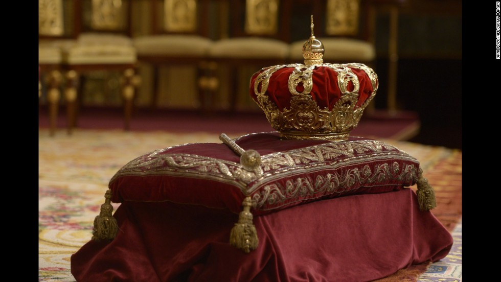 The Spanish crown is displayed at the Congress of Deputies in Madrid.