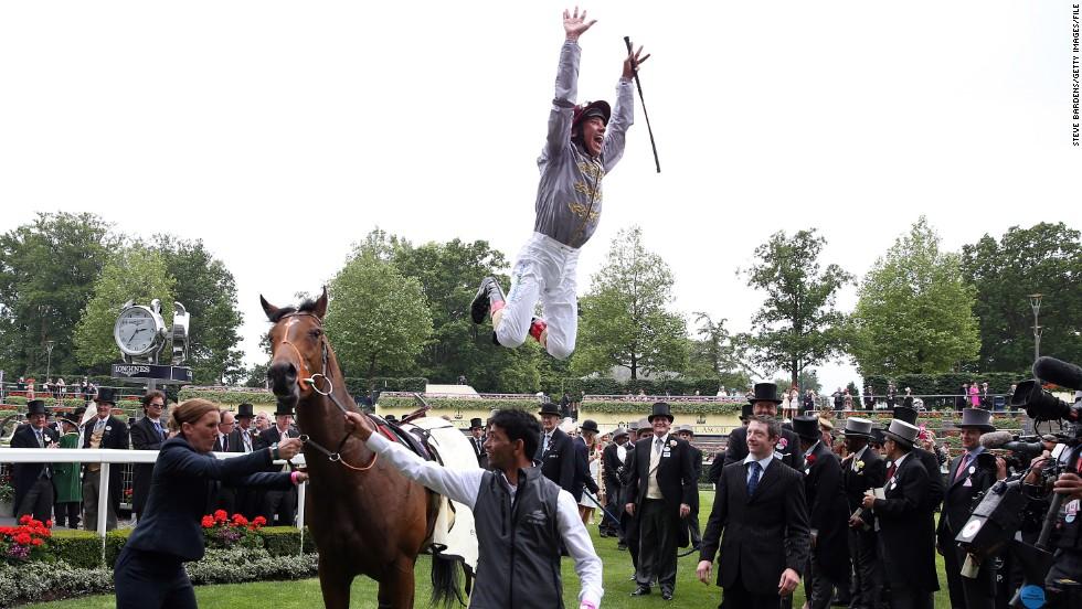 One jockey jumping for joy was Italian jockey Frankie Dettori after winning the Norfolk Stakes atop Baitha Alga, earlier in the day.