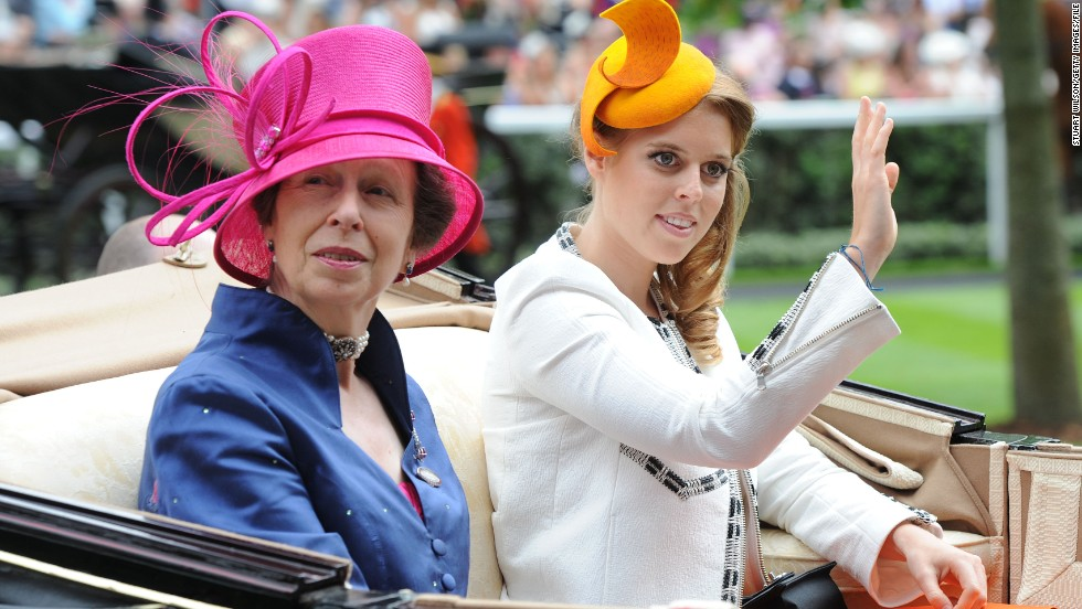 Day Three of the meet is traditionally Ladies' Day, when the designer dresses and millinery masterpieces are just as much a focus as the horse racing. Princess Anne and Princess Beatrice (pictured) show them how it's done.