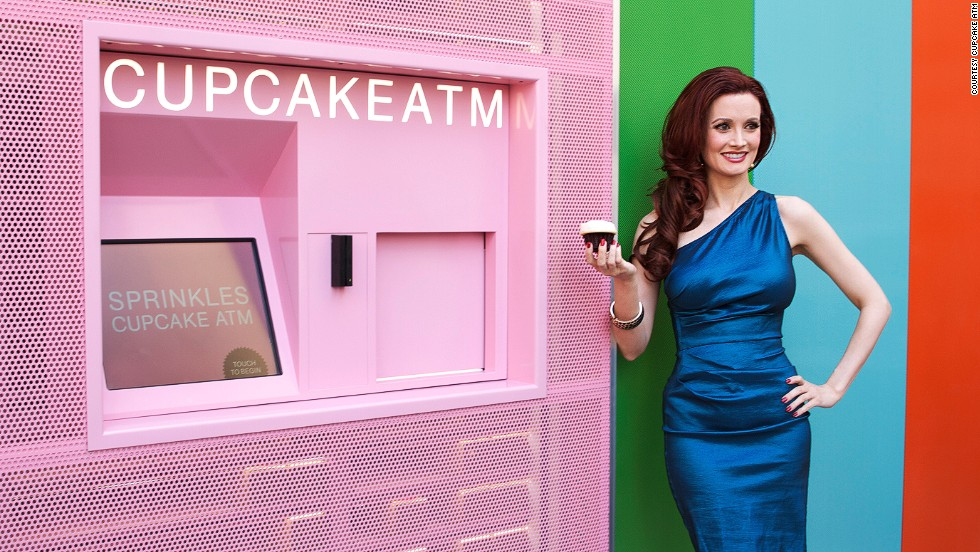 "For $4.25, Sprinkles bakery's New York machine sells cinnamon-chocolate and other flavors of cupcakes. Sprinkles opened its first ""Cupcake ATM"" in California in 2012 and also has machines in Atlanta, Chicago and Dallas."