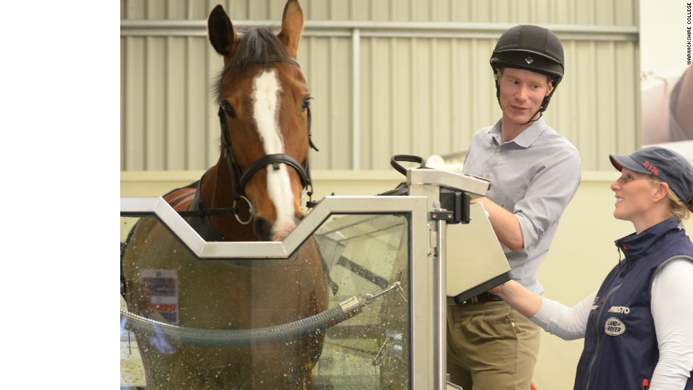 Zara Phillips, a member of British royalty preparing to compete at this year's World Equestrian Games, inspects an equine treadmill at Warwickshire College in the UK.