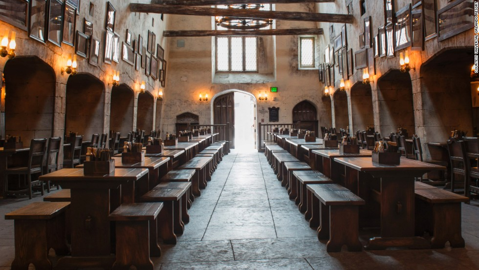 The park's Leaky Cauldron pub features traditional British fare.