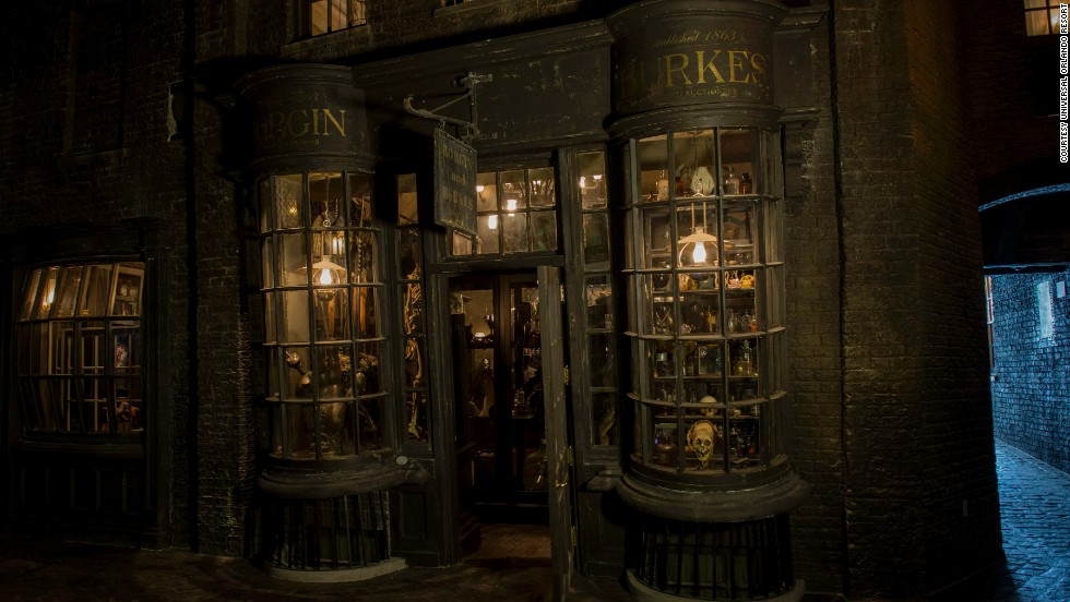 Diagon Alley retailers include Dark Arts specialty shop Borgin and Burkes.
